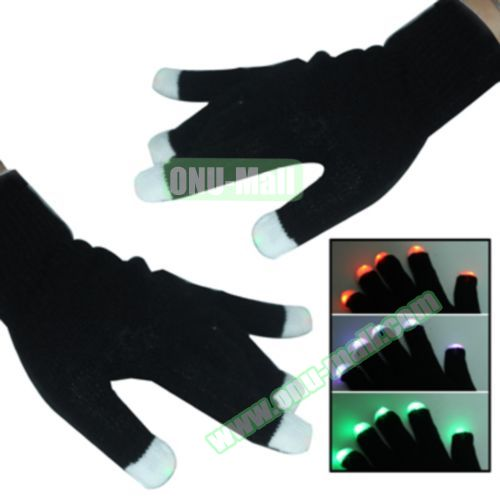 2 x 6 Multi-Color Changing LED Party Gloves (Black)
