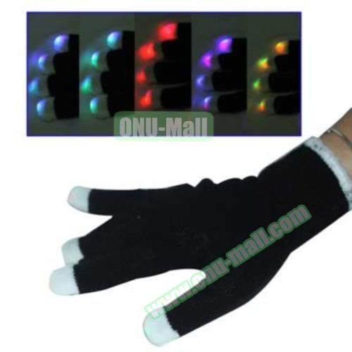1 x 6 Multi-Color Changing LED Party Gloves (Black)