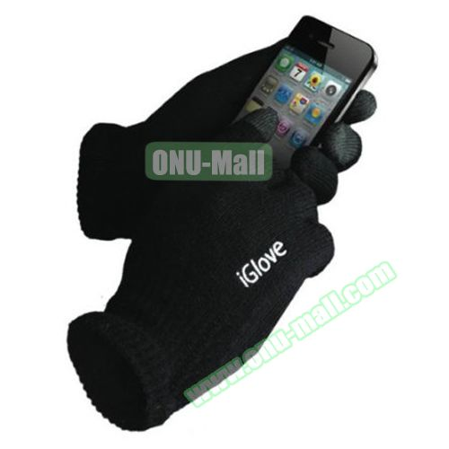 iGlove Unisex Knit Touch Gloves for iPhone 6 / 6 Plus, Samsung Note 4, S5 and All Tablets (Black)