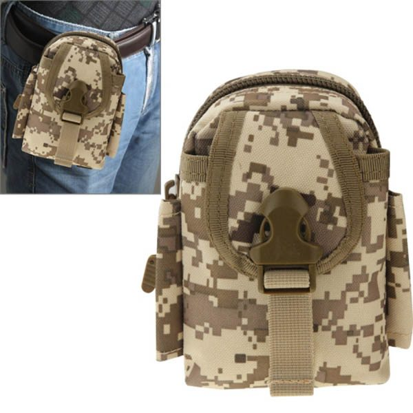Multi-function High Density Durable Nylon Waist Bag for Outdoor Activities (Brown Camouflage)