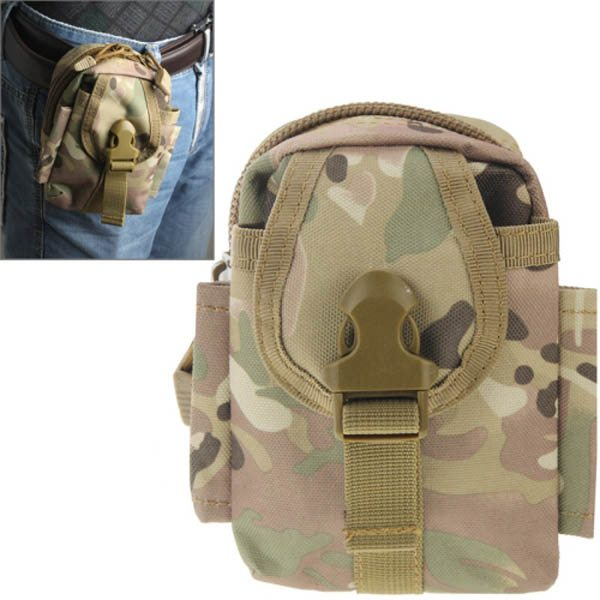 Multi-function High Density Durable Nylon Waist Bag for Outdoor Activities (Green Camouflage)