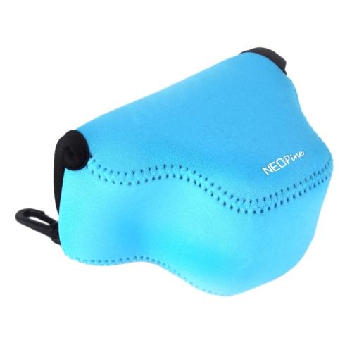 Triangle Shape Design Neoprene Camera Bag for Samsung NX3000 20-50mm Lens Camera (Blue)