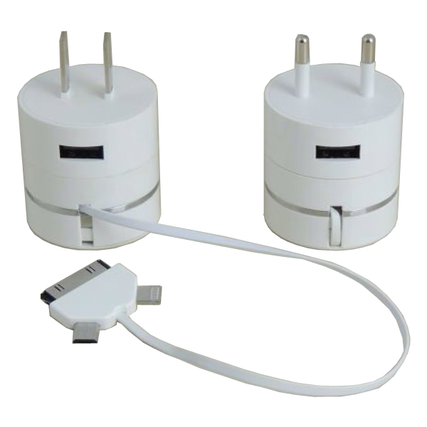 2015 Newest Wholesale Round 3 in 1 Charging Cable Storage Container with Wall Charger for iPhone, Samsung, etc.