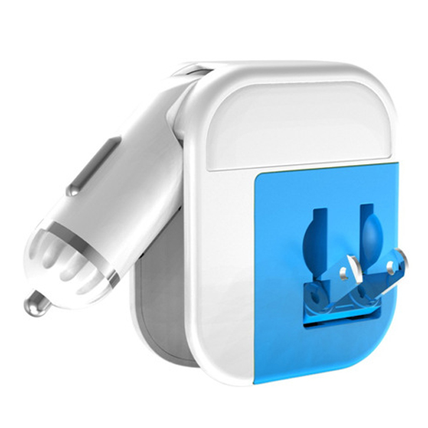 MiLi 3-in-1 Car, Travel and USB Charger for iPhone 6/ iPhone 6 Plus (Blue and White)