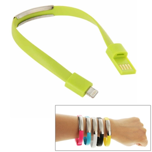 24cm Wearable Bracelet Sync Data Charging Cable for iPhone 6 & iPhone 5S & iPhone 5C &iPhone 5 (Green)