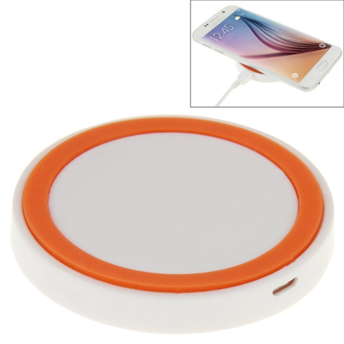 Qi Standard Wireless Charging Pad for Samsung / Nokia / HTC and Other Mobile Phones (White+Orange)