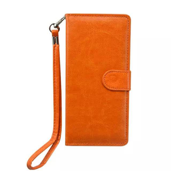 5.0 Inch Universal Wallet Flip Leather Cover with Card Slots (Orange)