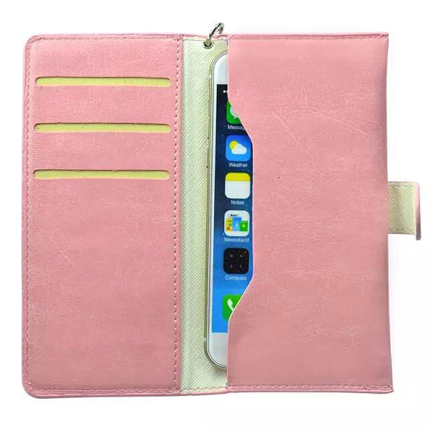 5.0 Inch Universal Wallet Flip Leather Cover with Card Slots (Pink)
