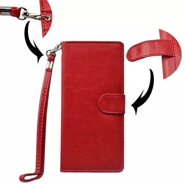 5.0 Inch Universal Wallet Flip Leather Cover with Card Slots (Red)