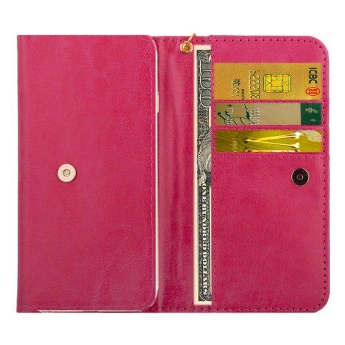 5.0 Inch Universal Crazy Horse Texture Wallet Case for iPhone 6/ 6S/ 5/ 5S/ 5C/ Sony Xperia E4/ M4 Aqua (Magenta)