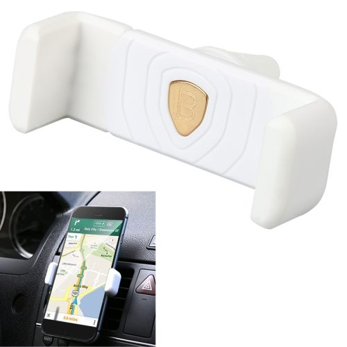 Universal Clip Design Baseus Mini Shield Plus Series Air Vent Car Mount Holder (White)