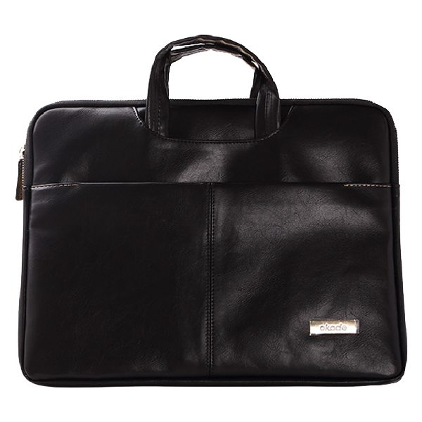 11.6-12 Inch Luxury Universal Portable PU Leather Laptop Bag with Zip (Shiny Black)