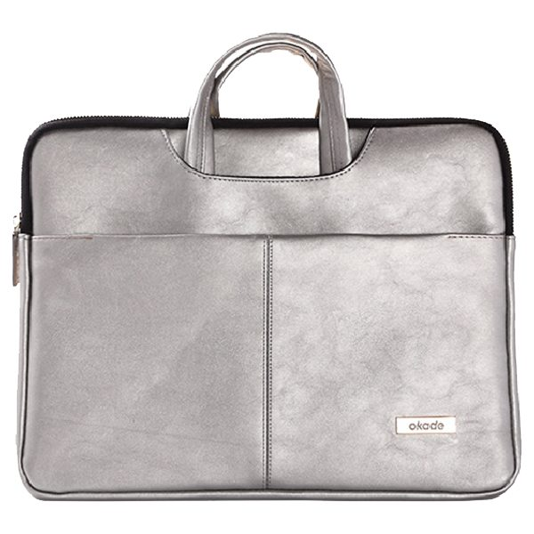 11.6-12 Inch Luxury Universal Portable PU Leather Laptop Bag with Zip (Silver)