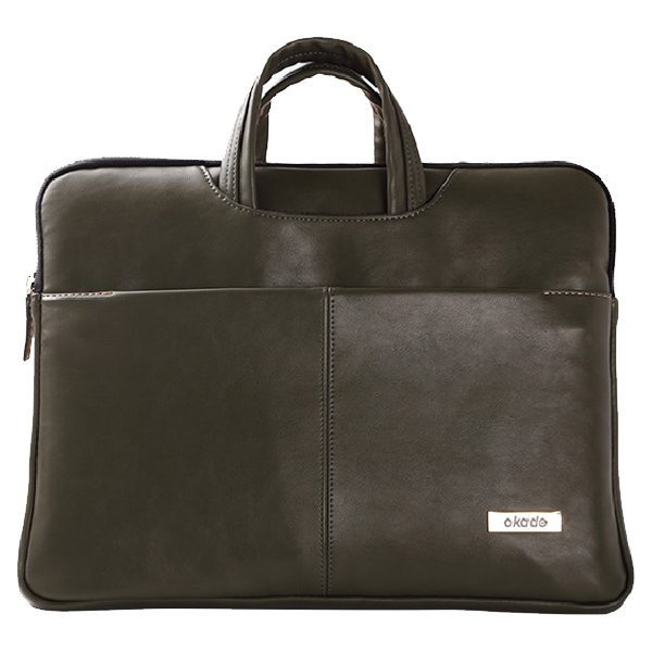 13.3 - 14 Inch Luxury Universal Portable PU Leather Laptop Bag with Zip (Black)