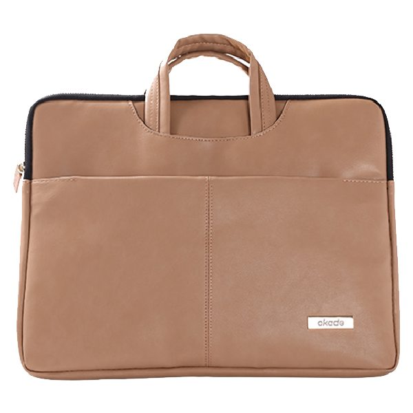 13.3 - 14 Inch Luxury Universal Portable PU Leather Laptop Bag with Zip (Brown)
