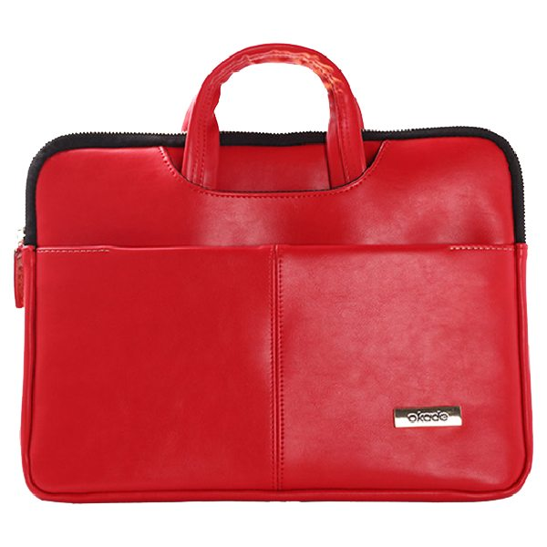 13.3 - 14 Inch Luxury Universal Portable PU Leather Laptop Bag with Zip (Red)