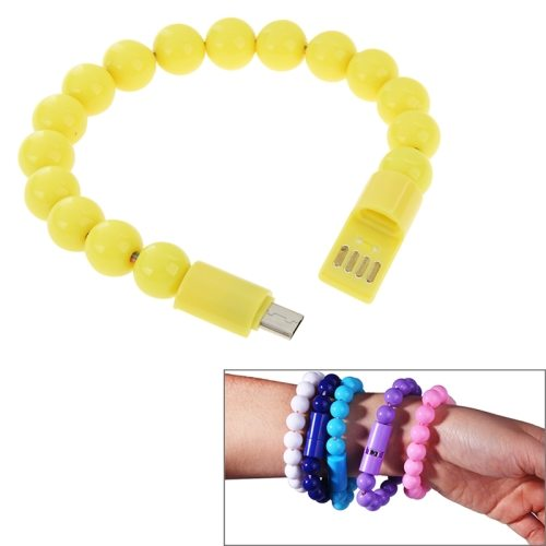 24cm Wearable Bracelet Sync Data Charging Cable for Samsung Galaxy S6/ S5/ S IV/ LG/ HTC (Yellow)