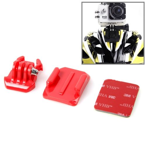 SIXXY Gopro Helmet Curved Surface + 3M VHB Sticker + Stand Adhesive Mount Kit for GoPro Hero 4 / 3+ / 3 / 2 (Red)