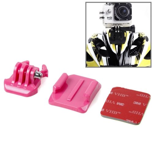 SIXXY Gopro Helmet Curved Surface + 3M VHB Sticker + Stand Adhesive Mount Kit for GoPro Hero 4 / 3+ / 3 / 2 (Rose)