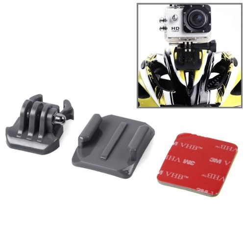 SIXXY Gopro Helmet Curved Surface + 3M VHB Sticker + Stand Adhesive Mount Kit for GoPro Hero 4 / 3+ / 3 / 2 (Black)