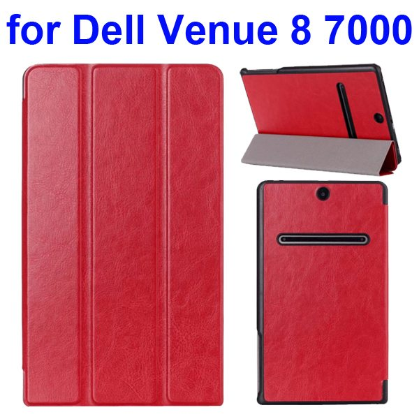 Crazy Horse Texture 3 Folding Pattern Protective Flip Leather Case for Dell Venue 8 7000 (Red)