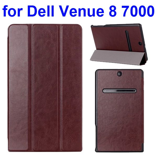 Crazy Horse Texture 3 Folding Pattern Protective Flip Leather Case for Dell Venue 8 7000 (Brown)