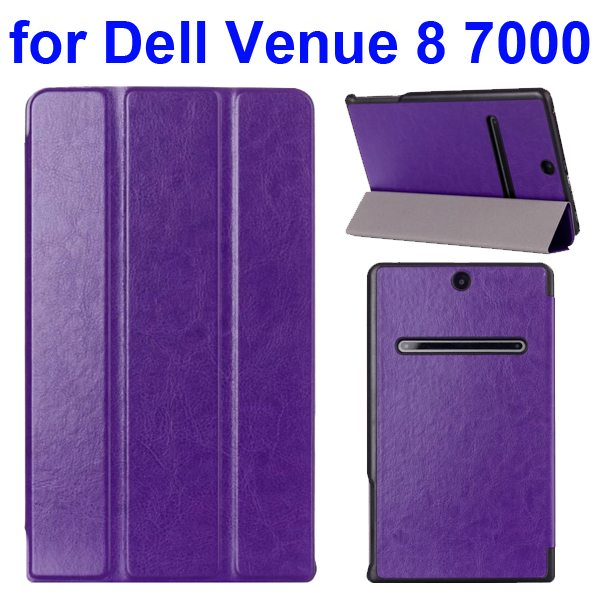 Crazy Horse Texture 3 Folding Pattern Protective Flip Leather Case for Dell Venue 8 7000 (Purple)