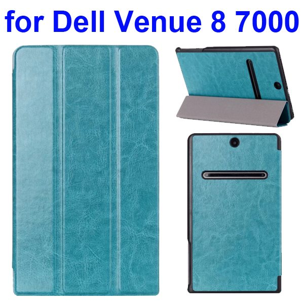 Crazy Horse Texture 3 Folding Pattern Protective Flip Leather Case for Dell Venue 8 7000 (Blue)