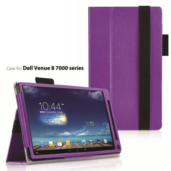 2015 Newest Flip Leather Case for Dell Venue 8 7000 with Sleep and Wake Function (Purple)