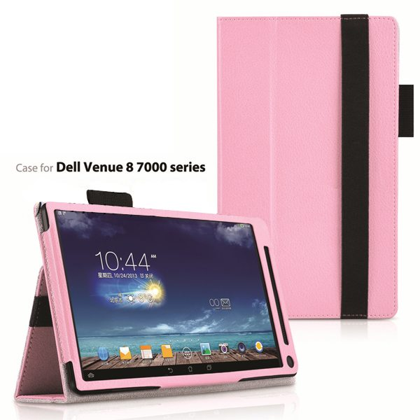 2015 Newest Flip Leather Case for Dell Venue 8 7000 with Sleep and Wake Function (Pink)