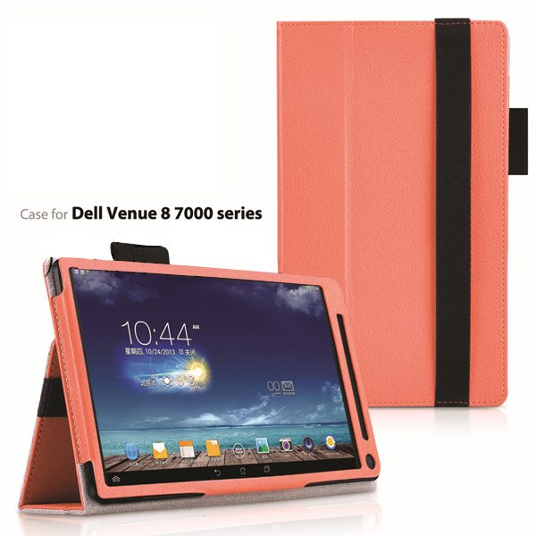 2015 Newest Flip Leather Case for Dell Venue 8 7000 with Sleep and Wake Function (Orange)
