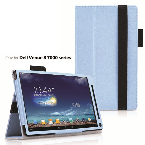 2015 Newest Flip Leather Case for Dell Venue 8 7000 with Sleep and Wake Function (Light Blue)