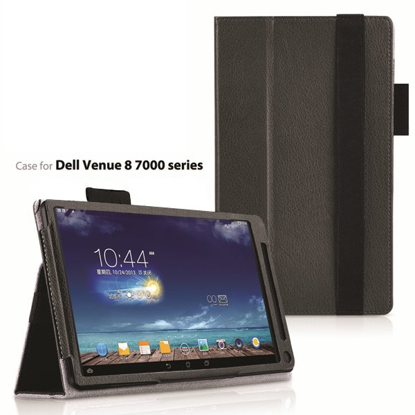 2015 Newest Flip Leather Case for Dell Venue 8 7000 with Sleep and Wake Function (Grey)