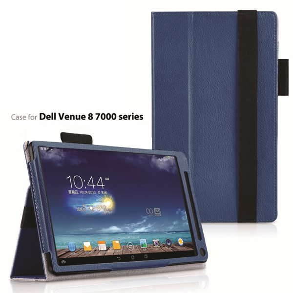 2015 Newest Flip Leather Case for Dell Venue 8 7000 with Sleep and Wake Function (Dark Blue)