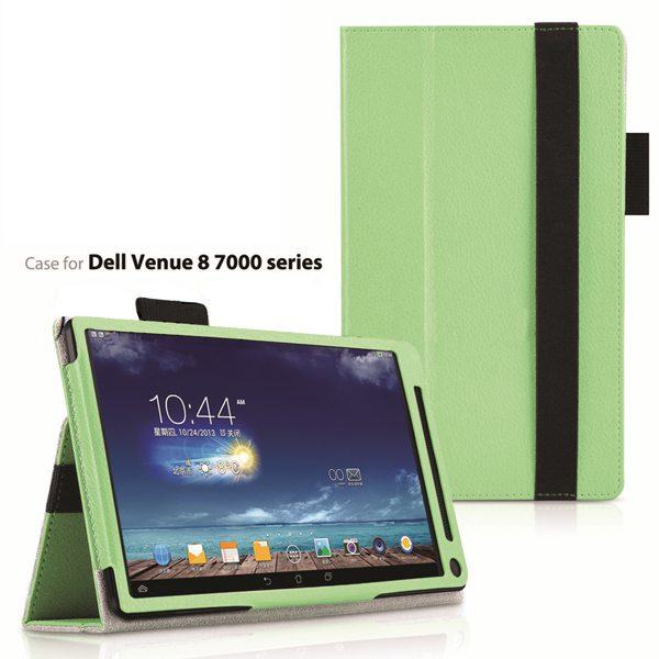 2015 Newest Flip Leather Case for Dell Venue 8 7000 with Sleep and Wake Function (Green)