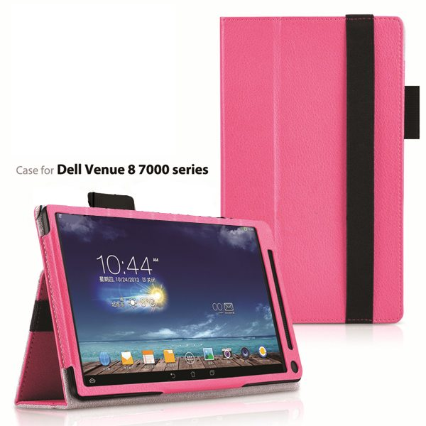 2015 Newest Flip Leather Case for Dell Venue 8 7000 with Sleep and Wake Function (Rose)
