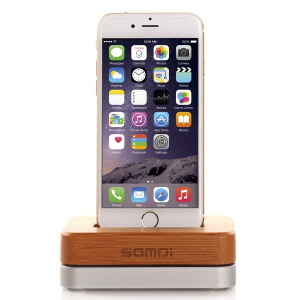 100% Pure Wood High Class Mobile Phone Desk Dock Charger for iPhone 6 and iPhone 5S (Silver)