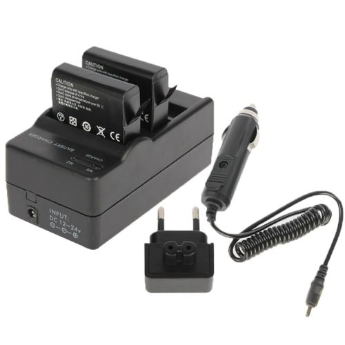 AHDBT-401 Digital Camera Double Battery Charger + Car Charger + EU Adapter for GoPro Hero 4
