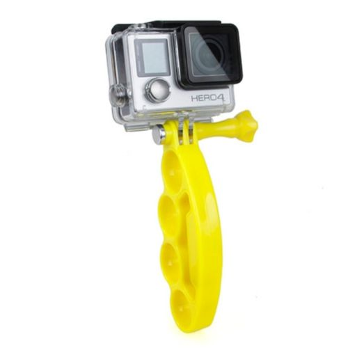 Plastic Knuckles Fingers Grip with Thumb Screw for Go Pro Hero 4 / 3+ / 3 / 2 (Yellow)