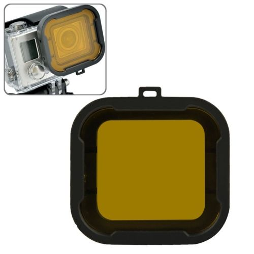 Cube Snap-on Dive Housing Glass Filter for HD Gopro Hro 3+ (Yellow)