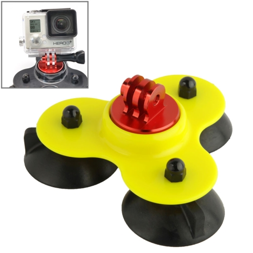 Coyote Style Suction Cup + Tripod Mount + Handle Screw for GoPro Hero 4 / 3+ / 3 / 2 (Yellow)