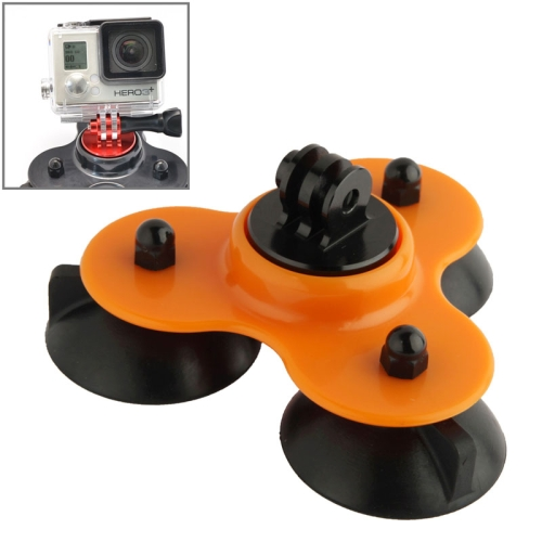 Coyote Style Suction Cup + Tripod Mount + Handle Screw for GoPro Hero 4 / 3+ / 3 / 2 (Orange)