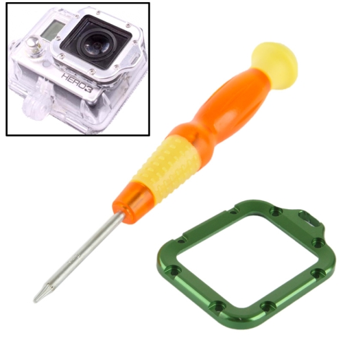 ST-44 Lens Replacement Kit Aluminum Lanyard Ring Mount & Screwdriver for GoPro Hero 3 (Green)