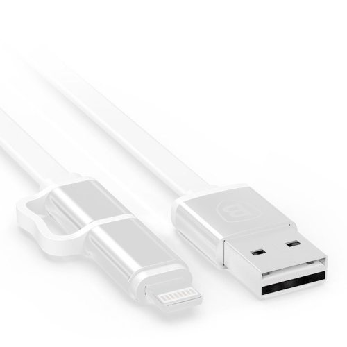 1 M Baseus Dual-port Pro Series 2 in 1 Multifunctional Micro USB and 8 Pin to Double Sided USB Port Metal Head Date Cable (Silver)