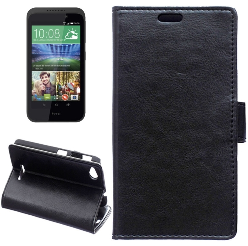 Crazy Horse Texture Horizontal Flip Solid Color Magnetic Buckle Leather Case for HTC Desire 320 (Black)