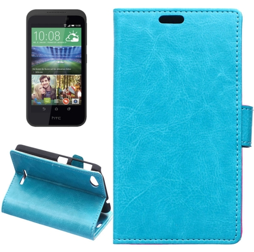 Crazy Horse Texture Horizontal Flip Solid Color Magnetic Buckle Leather Case for HTC Desire 320 (Blue)