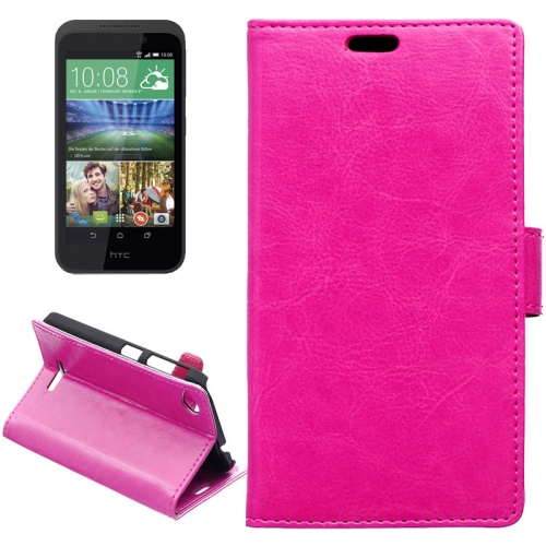 Crazy Horse Texture Horizontal Flip Solid Color Magnetic Buckle Leather Case for HTC Desire 320 (Rose)