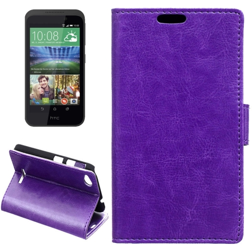 Crazy Horse Texture Horizontal Flip Solid Color Magnetic Buckle Leather Case for HTC Desire 320 (Purple)