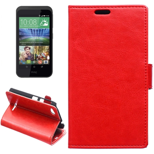 Crazy Horse Texture Horizontal Flip Solid Color Magnetic Buckle Leather Case for HTC Desire 320 (Red)