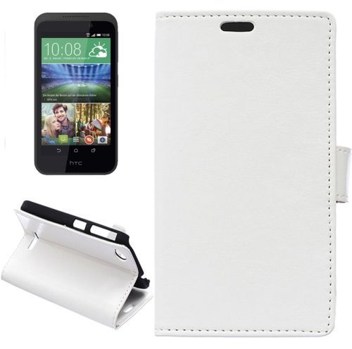 Crazy Horse Texture Horizontal Flip Solid Color Magnetic Buckle Leather Case for HTC Desire 320 (White)